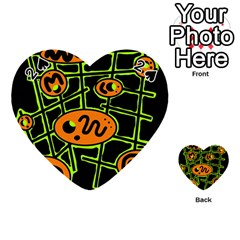 Orange And Green Abstraction Playing Cards 54 (heart)  by Valentinaart