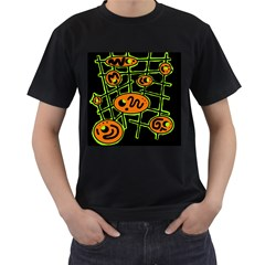 Orange And Green Abstraction Men s T Shirt (black) by Valentinaart