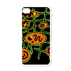 Orange And Green Abstraction Apple Iphone 4 Case (white) by Valentinaart