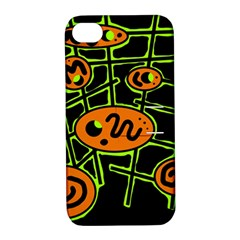 Orange And Green Abstraction Apple Iphone 4/4s Hardshell Case With Stand by Valentinaart