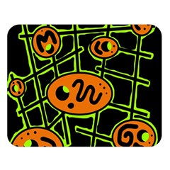 Orange And Green Abstraction Double Sided Flano Blanket (large)  by Valentinaart