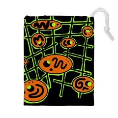 Orange And Green Abstraction Drawstring Pouches (extra Large) by Valentinaart
