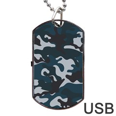 Blue Camo Pattern Dog Tag USB Flash (One Side) by artpics