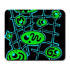 Green And Blue Abstraction Large Mousepads by Valentinaart