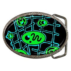 Green And Blue Abstraction Belt Buckles by Valentinaart