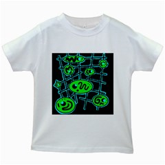 Green And Blue Abstraction Kids White T Shirts by Valentinaart