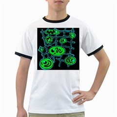 Green And Blue Abstraction Ringer T Shirts by Valentinaart