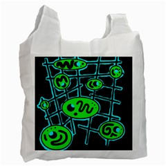 Green And Blue Abstraction Recycle Bag (one Side) by Valentinaart