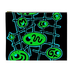 Green And Blue Abstraction Cosmetic Bag (xl) by Valentinaart