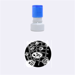 Green And Blue Abstraction Rubber Round Stamps (small) by Valentinaart
