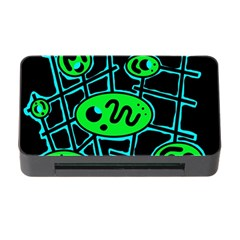 Green And Blue Abstraction Memory Card Reader With Cf by Valentinaart