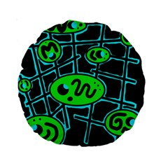 Green And Blue Abstraction Standard 15  Premium Round Cushions by Valentinaart