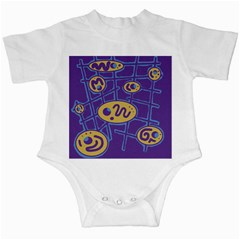 Purple And Yellow Abstraction Infant Creepers by Valentinaart