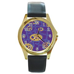 Purple And Yellow Abstraction Round Gold Metal Watch by Valentinaart