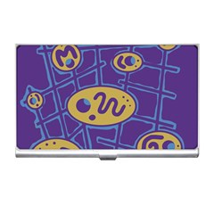 Purple And Yellow Abstraction Business Card Holders by Valentinaart