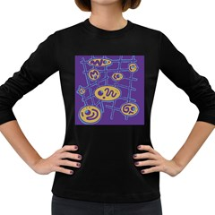 Purple And Yellow Abstraction Women s Long Sleeve Dark T Shirts by Valentinaart