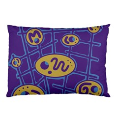 Purple And Yellow Abstraction Pillow Case by Valentinaart