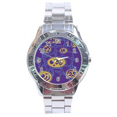 Purple and yellow abstraction Stainless Steel Analogue Watch