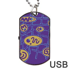 Purple And Yellow Abstraction Dog Tag Usb Flash (two Sides)  by Valentinaart