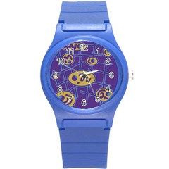 Purple And Yellow Abstraction Round Plastic Sport Watch (s) by Valentinaart