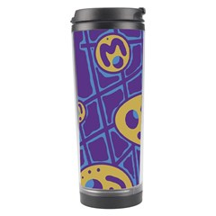 Purple And Yellow Abstraction Travel Tumbler by Valentinaart