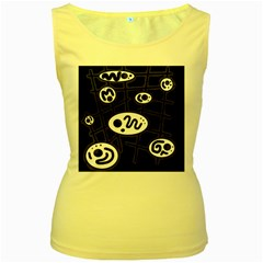 Black and white crazy abstraction  Women s Yellow Tank Top by Valentinaart