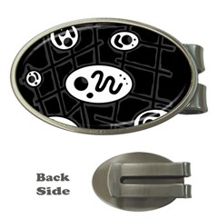 Black And White Crazy Abstraction  Money Clips (oval)  by Valentinaart
