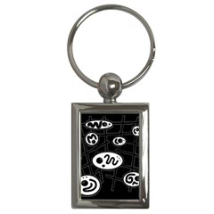Black And White Crazy Abstraction  Key Chains (rectangle)  by Valentinaart