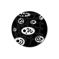 Black And White Crazy Abstraction  Magnet 3  (round) by Valentinaart