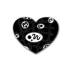 Black And White Crazy Abstraction  Rubber Coaster (heart)  by Valentinaart
