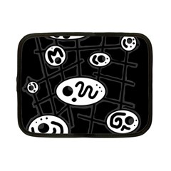Black And White Crazy Abstraction  Netbook Case (small)  by Valentinaart