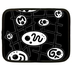 Black And White Crazy Abstraction  Netbook Case (xxl)  by Valentinaart