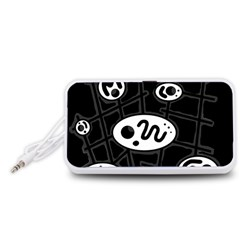 Black And White Crazy Abstraction  Portable Speaker (white)  by Valentinaart