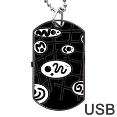 Black And White Crazy Abstraction  Dog Tag Usb Flash (two Sides)  by Valentinaart
