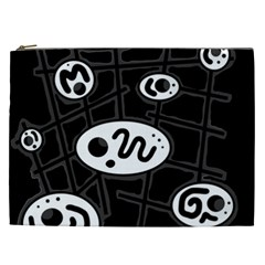 Black And White Crazy Abstraction  Cosmetic Bag (xxl)  by Valentinaart