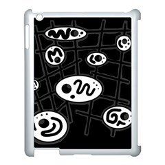 Black And White Crazy Abstraction  Apple Ipad 3/4 Case (white) by Valentinaart