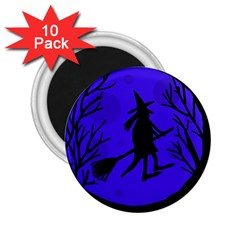 Halloween Witch   Blue Moon 2 25  Magnets (10 Pack)  by Valentinaart