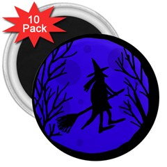 Halloween Witch   Blue Moon 3  Magnets (10 Pack)  by Valentinaart