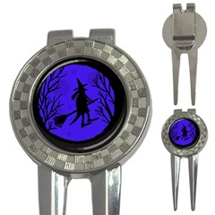 Halloween Witch   Blue Moon 3 In 1 Golf Divots by Valentinaart