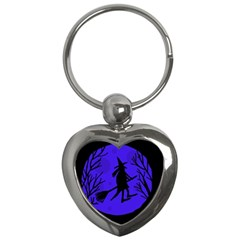 Halloween Witch   Blue Moon Key Chains (heart)  by Valentinaart