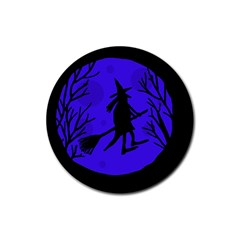 Halloween Witch   Blue Moon Rubber Coaster (round)  by Valentinaart