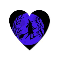 Halloween Witch   Blue Moon Heart Magnet by Valentinaart