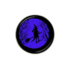Halloween Witch   Blue Moon Hat Clip Ball Marker by Valentinaart