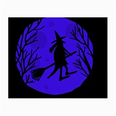 Halloween Witch   Blue Moon Small Glasses Cloth by Valentinaart