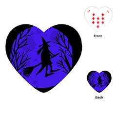 Halloween witch - blue moon Playing Cards (Heart)