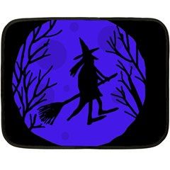 Halloween Witch   Blue Moon Double Sided Fleece Blanket (mini)  by Valentinaart