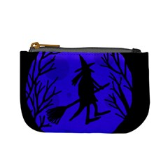 Halloween Witch   Blue Moon Mini Coin Purses by Valentinaart