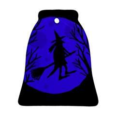 Halloween Witch   Blue Moon Ornament (bell)  by Valentinaart
