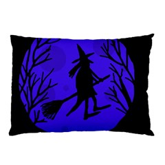 Halloween Witch   Blue Moon Pillow Case (two Sides) by Valentinaart