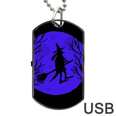 Halloween Witch   Blue Moon Dog Tag Usb Flash (one Side) by Valentinaart